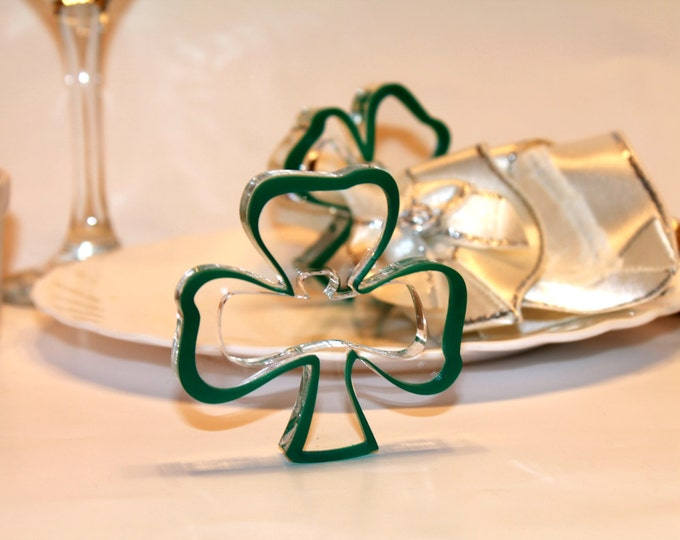 Green napkin ring holders Irish holiday St. Patrick's day gift Green shamrocks Irish gifts Green napkin rings Irish decorations Set of 12