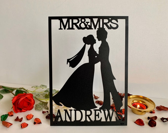 Black Metal Wedding Sign Mr & Mrs Custom Last Name Personalized Bride and Groom Silhouette Freestanding Centerpieces Sweetheart Table Decor