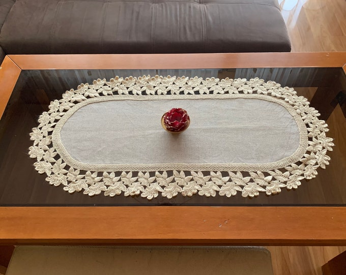 Linen Tablecloth with Lace Natural Doily Crochet Oval Handmade Large Table Topper Cotton Beige Centerpiece Vintage Mothers day Grandma Gift