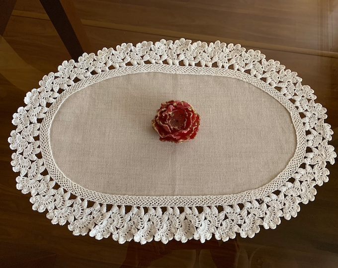 Natural Linen Small Oval White Doily Crochet Handmade Vintage Lace Table Runner Doily Tableware Centerpiece Tablecloth Christmas Gift Mom