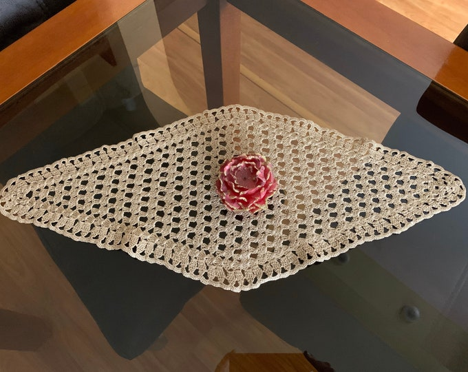 Light Brown Vintage Doily Crocheted Diamond Shape Handmade Table Runner Cotton Table Decorations Christmas Gift ideas for Her Table Topper