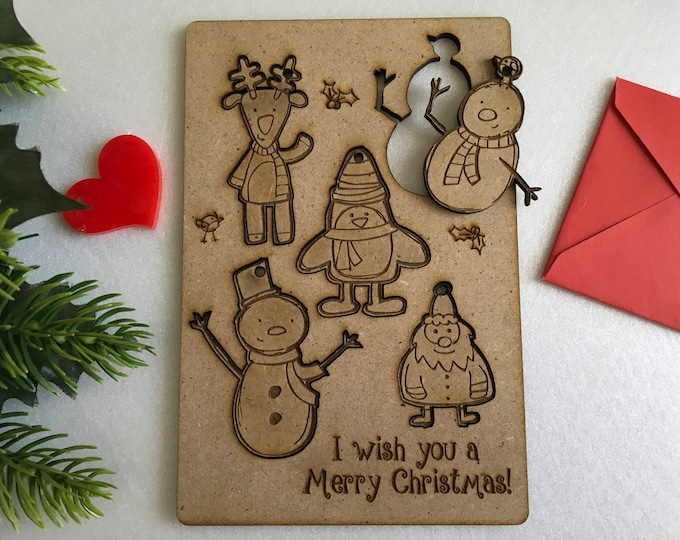 Personalized Christmas Children's Greeting Wood Cards Laser Cut Figurine Xmas Figures Custom Gift Wooden Ornaments Handmade Puzzles for Kids