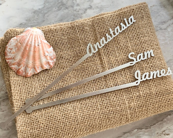 Personalized swizzle stir sticks Custom name drink stirrers Stainless steel Silver wedding Cocktail accessories Anniversary centerpieces