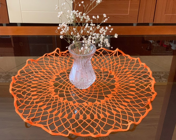 Handmade Orange Round Doily Crochet Small Tablecloth Home Decoration Living Room Table Centerpiece Crocheted Doilies Placemat Gift for Her