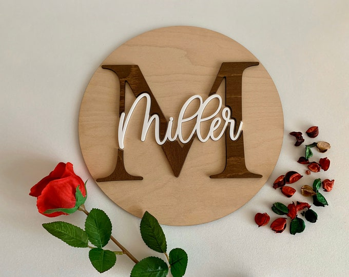 Personalized Round Wooden 3D Name Sign Custom Monogram Split Letter Wall Door Hanging Signs Nursery Room Decor Wedding Guestbook Alternative