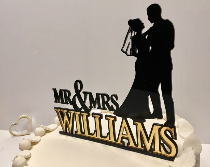 Mr and Mrs Cake Toppers Silhouette Unique Wedding Cake Topper Personalized Acrylic Cake Topper with Last Family Name Bride Groom Mr & Mrs