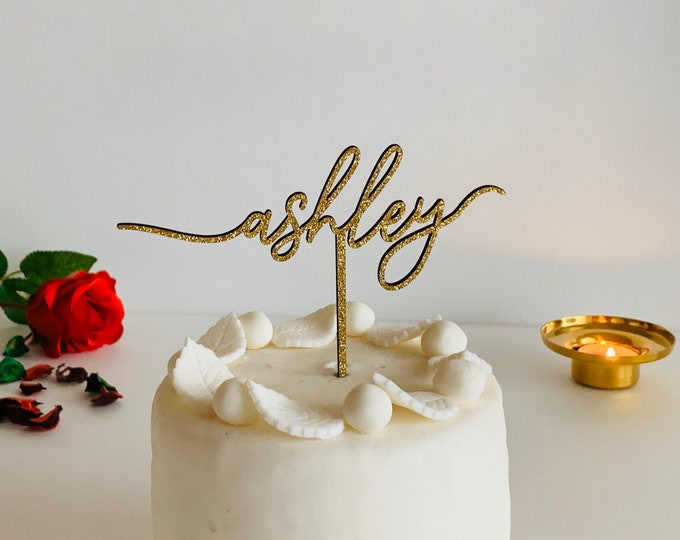 Custom Gold Glitter Name Cake Topper Personalized First Birthday Party Decor Baby Shower Calligraphy Bachelorette Bridal Shower