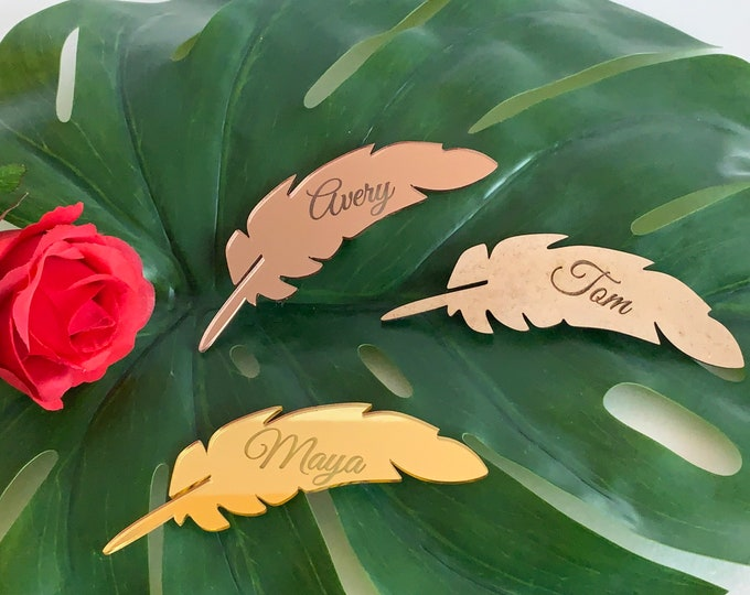 Leaf Place Cards Personalized Floral Wedding Alternative Wood Custom Seating Cards Mirror Acrylic Laser Cut Leaf Shapes Engraved Name Tags