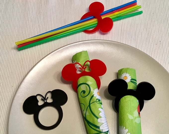 Acrylic Napkin Rings Mickey Mouse Theme Disney Bow Birthday Table Party Decor Black Red Clubhouse Cartoon Napkin Holders Minnie Mouse Head