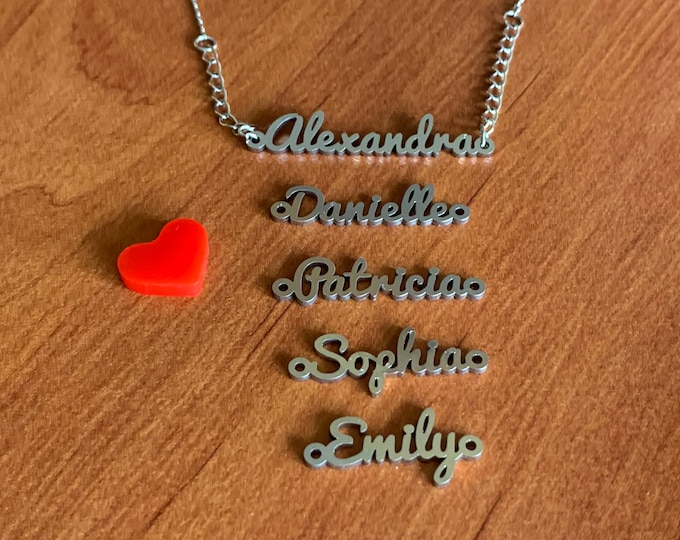 Personalized Name Pendant without Chain, Custom Jewelry, Laser Cut Charm, Silver Letter Necklace Birthday Gift, Handmade Customize Your Name