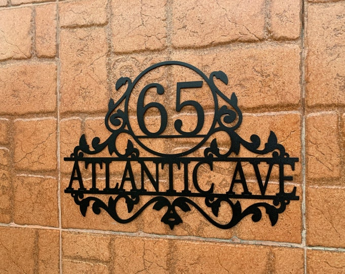 Personalized Address Sign Custom Metal Wall Art House Number Sign Street Address Plaque Outdoor, Wall Hanger Front Door, Gift for Family