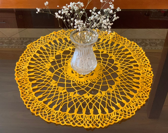 Handmade Yellow Round Doily Crochet Small Tablecloth Home Decoration Living Room Table Centerpiece Crocheted Doilies Placemat Gift for Her