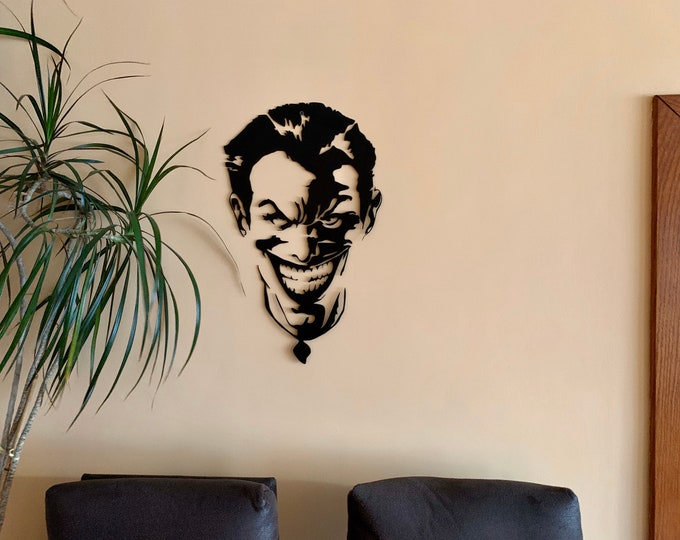 Metal Wall Art Laughing Joker Face Wall Hanging Sign Comic Housewarming Black Sculpture Office Home Decor Teen Boys Room Movie Gift for Men