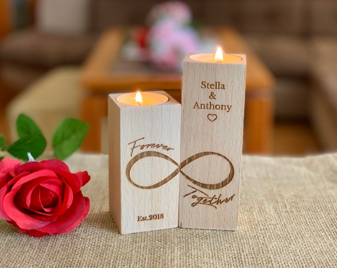 Personalized Wooden Candle Holder Infinity Love Custom Engraved Names Couples Gift Wood Tea light Candle Forever Together Save the Date Est.