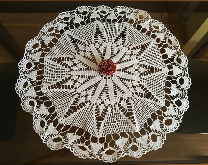 Doily Crochet Round Lace Cotton Large Vintage Handmade Doilies Tablecloth Home Decor Wedding Gift for Bride Mothers Day Gift White Blue