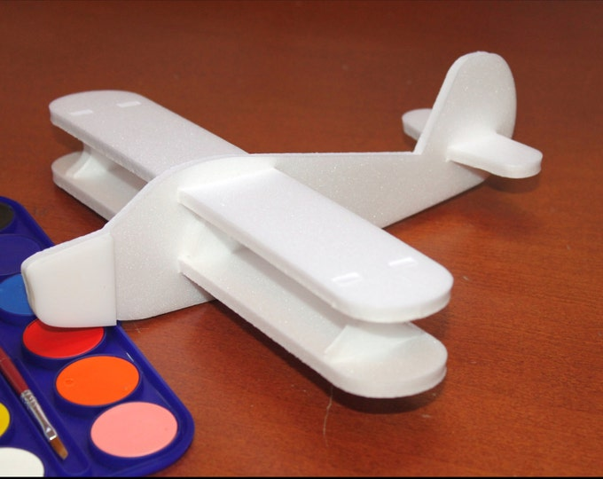 DIY Painting Aeroplane | Airplane toy Gift for Boys | Small white air jet | Baby Shower Party Birthday gift | Children plane | Foam craft