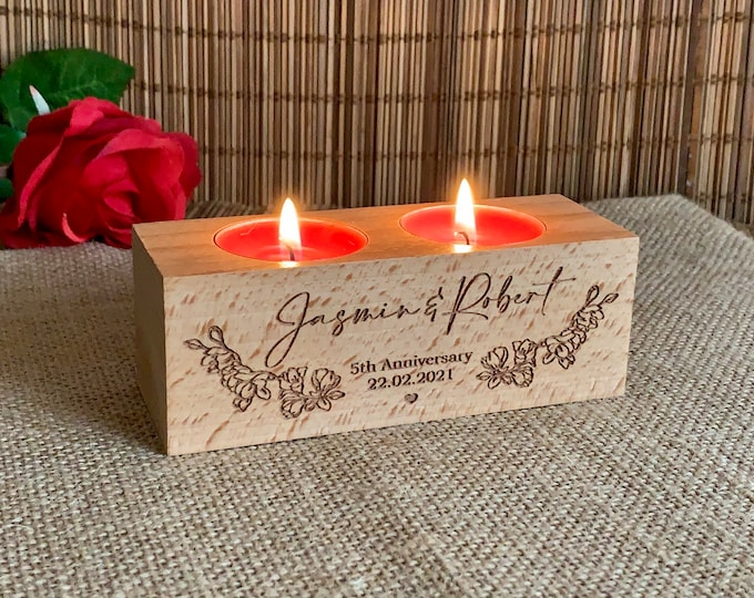 Personalized Anniversary Engraved Wooden Candle Holders Custom Names Rustic Wood Tealight Gift for Couples Home Decoration Housewarming Gift