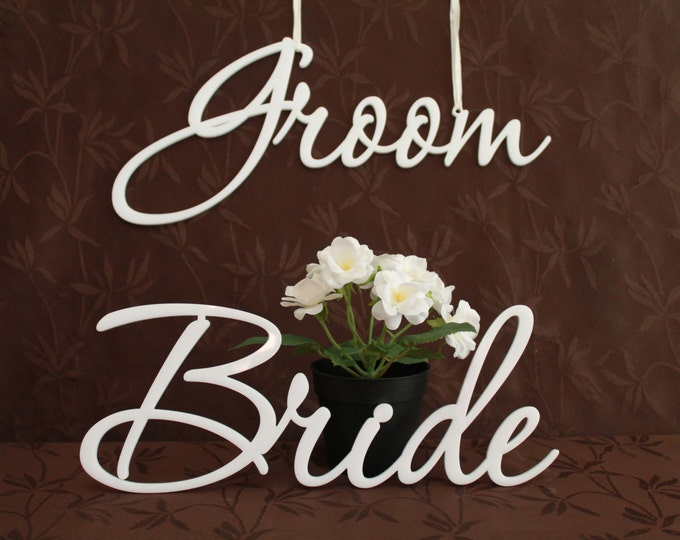 Bride and Groom Signs Wedding Chair Sign Mr & Mrs Chair Sign for Wedding Hanging Laser cut Sign Wedding decorations Laser cut acrylic names