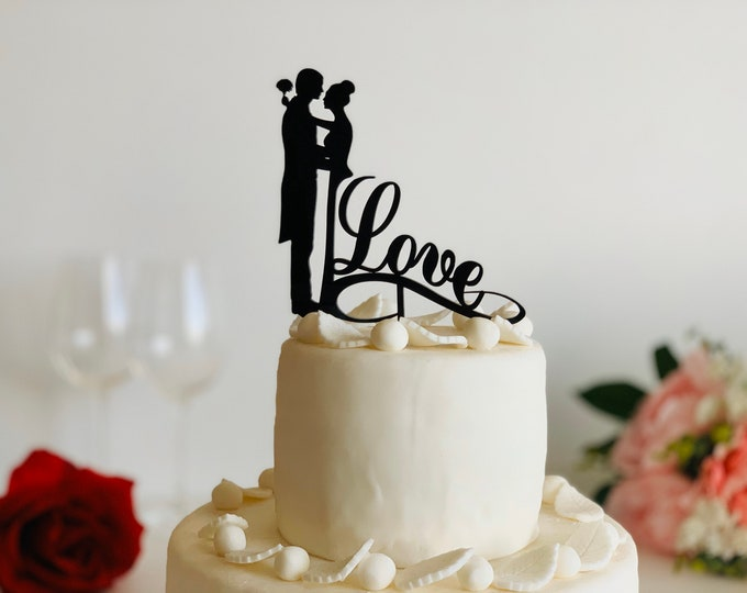 Wedding Cake Topper Couple Silhouette Love Infinity Acrylic Cake Topper Bride and Groom Mr & Mrs Valentines Day Centerpiece Cake Decorations