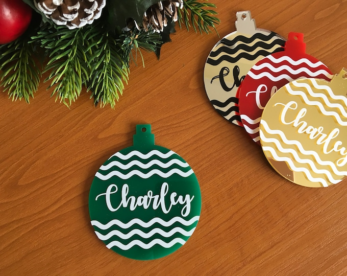 Personalized Name Ornament Custom Name Baubles Hanging Tree Decorations Laser Cut Names Christmas Bauble Family Gift First Xmas Green White