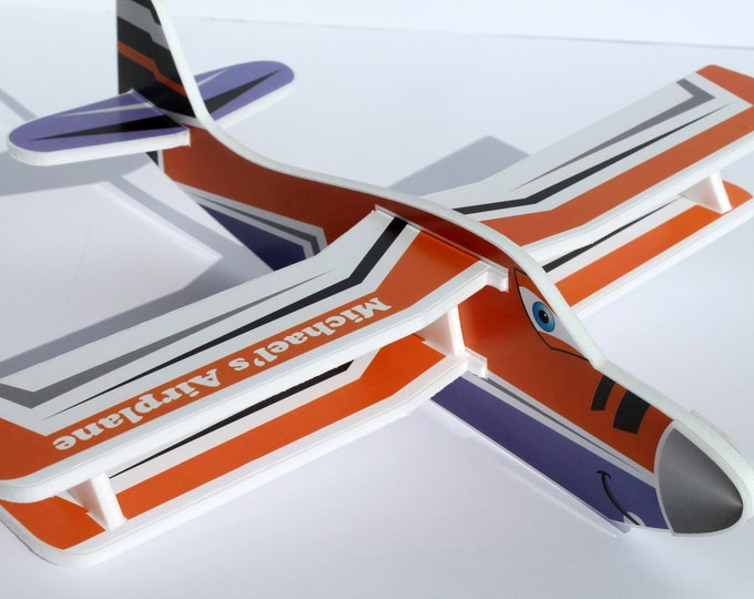 Personalised air plane present Personalized toy Birthday gifts Custom Gift for boy Foam Airplanes Flying airplanes Kids craft Airplane decor