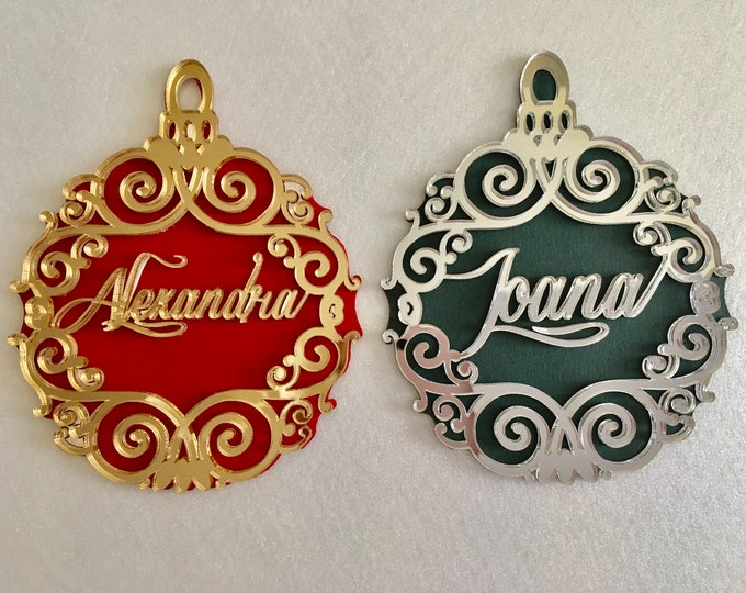Personalised Luxury Christmas Name Ornament Christmas Bauble Xmas Keepsake Christmas Tree Decor Gold Name Bauble Custom Hanging Ornaments
