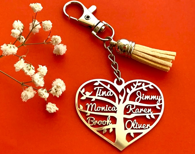 Personalized Heart Keychain Tree of Life Custom Keyring Laser Cut Family Names Stainless Steel Pendant Anniversary, Gift for Mom, Bag Charm
