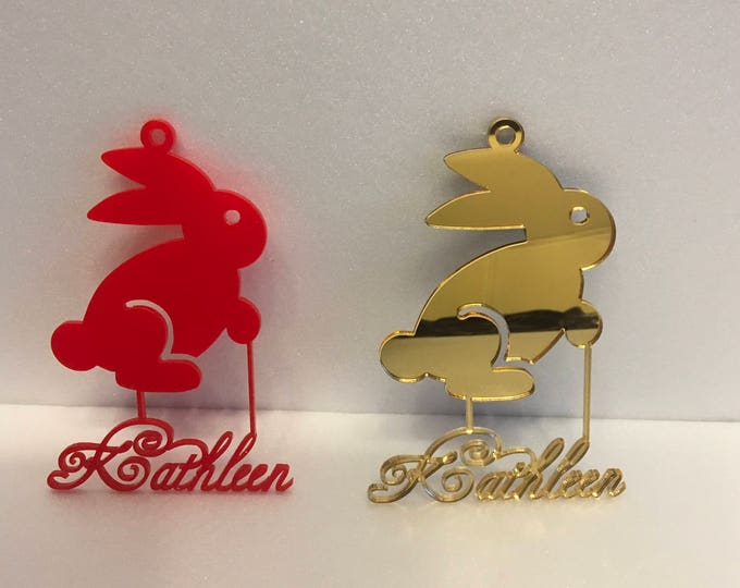 Personalized Easter Name Hanging Ornaments Laser Cut Names Custom Bunny Gift for Kids Acrylic Wood Rabbit Baby's First Easter, Any Colors