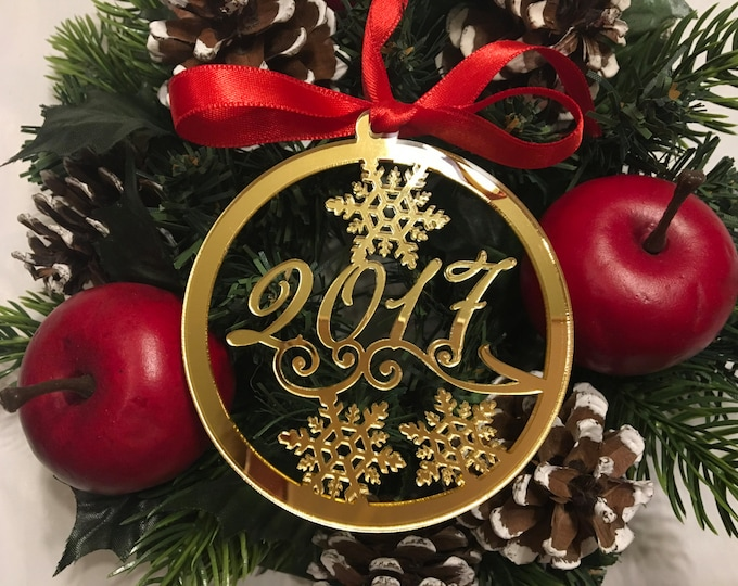 Christmas 2020 Milestone 2021 New Year's Eve Personalized gift Personalised gold baubles Tree decorations Christmas ornament Stainless Steel
