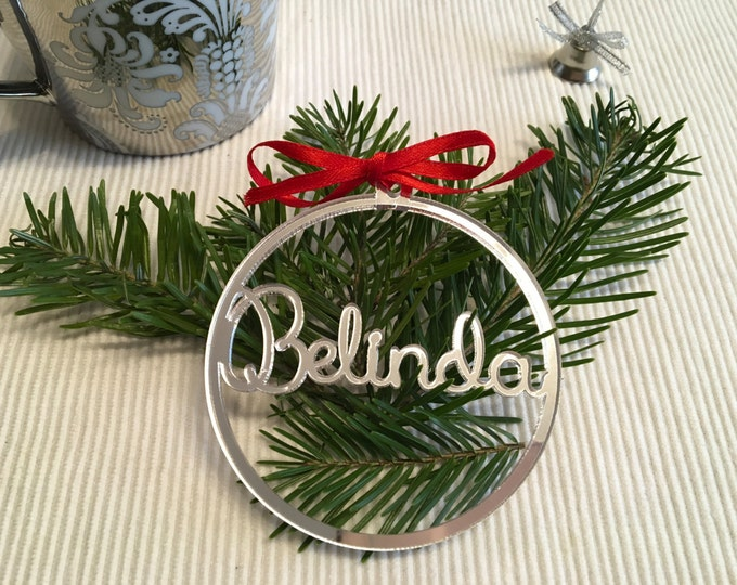 Personalized Christmas Name Bauble Laser Cut Names Gift Tags Xmas Decoration Custom Christmas Ornament Acrylic Xmas baubles Tree Decorations