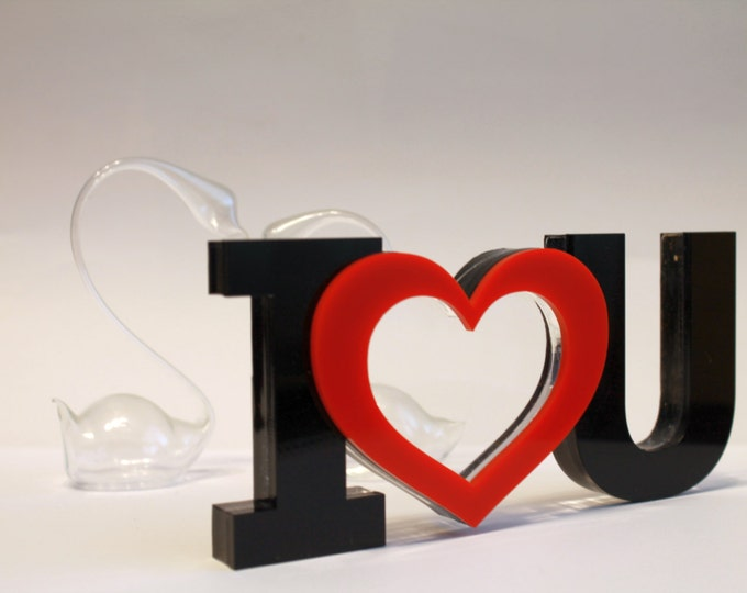 Red Heart Photo Frame Valentines Acrylic Picture Stand Custom Picture frame Handmade box I love you sign Heart photo charm Home decorations