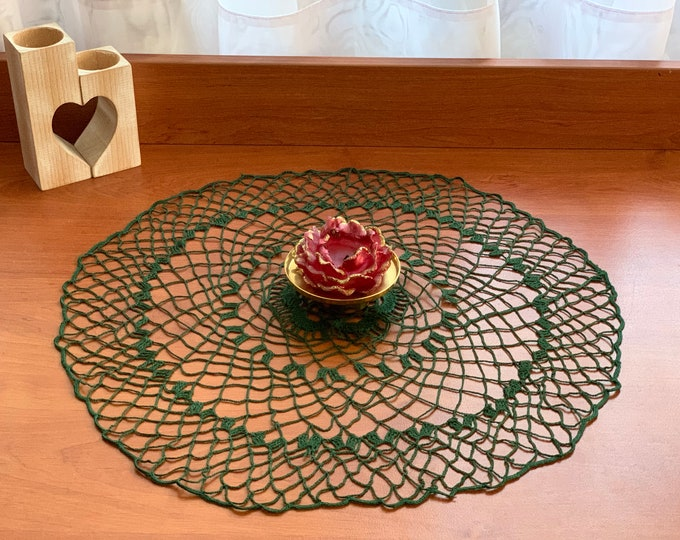 Handmade Green Doily Crochet Delicate Cotton Tablecloth Home Decoration Doilies Table Round Centerpiece Bohemian Crocheted Lace Gift for Mom