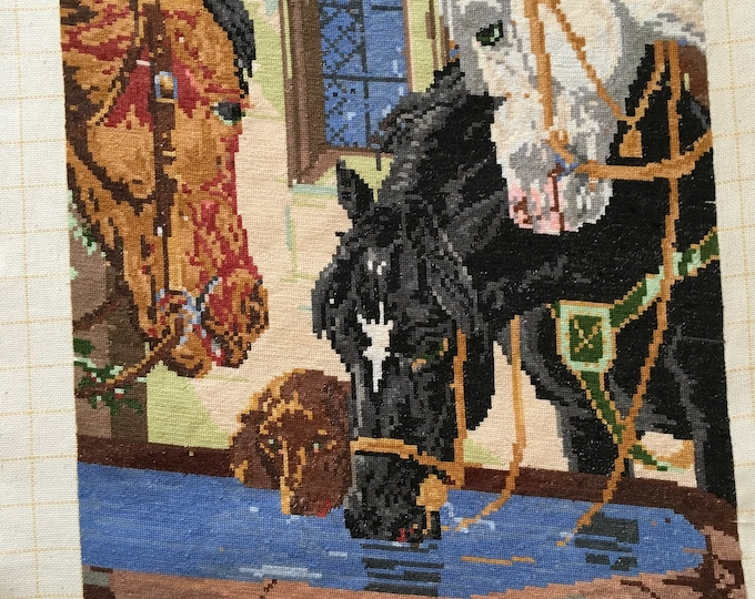 Gobelin Horses at the Trough Original Wiehler Handmade Gobelin DMC Embroidery Vintage Tapestry Large Hand Embroidered Needlepoint Unframed