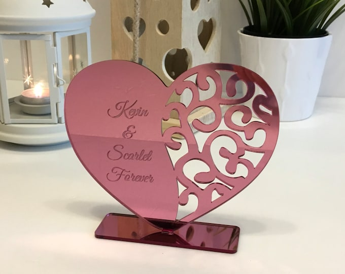 Personalized heart decor with names Wedding gift for couple Valentines day gift Freestanding ornament Engraved custom hearts Gift for her