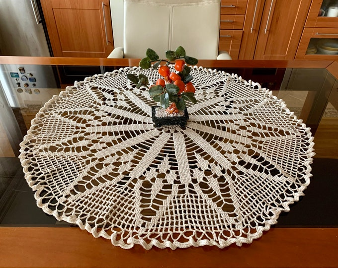 "32"" Large Doily Crochet Round Lace Cotton Handmade Doilies Tablecloth Home Table Decorations, Gift for Mom, Mother's Day, Gift for Grandma"