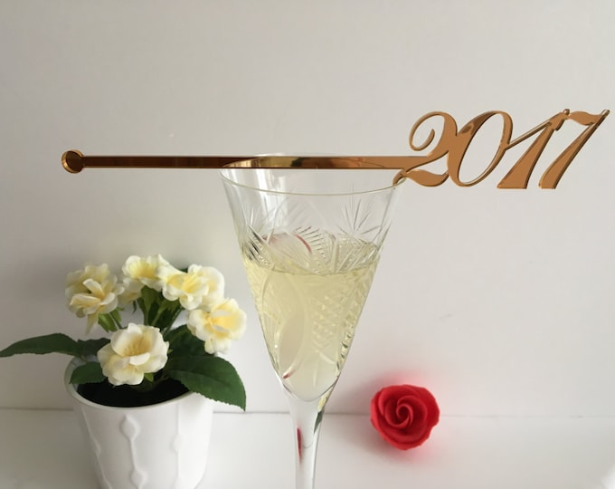 Happy New Year 2021 Party Champagne Stirrers New Year Party Decorations Personalized Holiday Swizzle Sticks New Year's Eve Xmas Cocktail