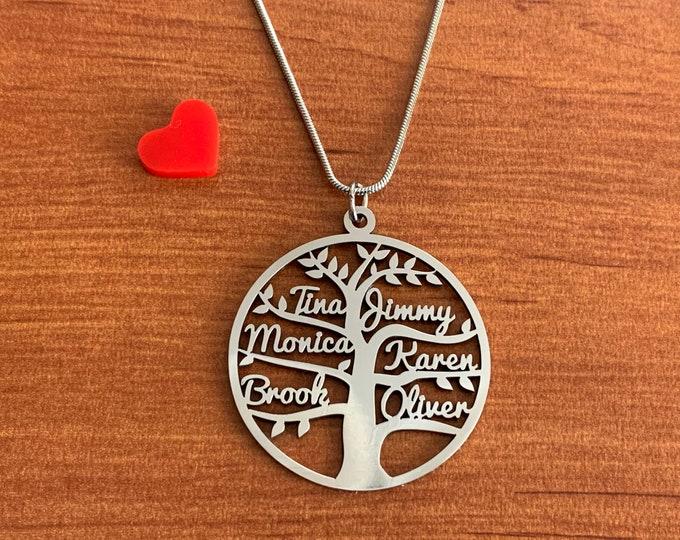 Personalized Tree of Life Name Necklace Handmade Charm Pendant Custom Family Names Laser Cut Tree Stainless Steel Jewelry Valentines Gifts