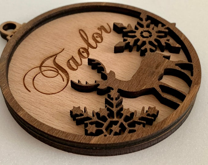 Personalized Christmas Name Ornament with Reindeer Laser Cut Snowflakes 3D Custom Wood Bauble Xmas 2021 Handmade Wooden Hanging Tree Decor