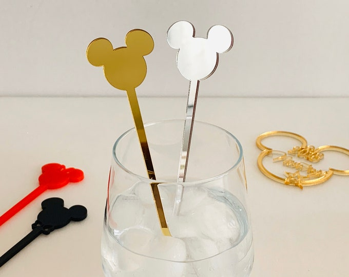 Mickey Mouse Acrylic Drink Stirrer Minnie Mouse Disney Theme Party Decorations Swizzle Stir Stick Birthday Table Decor Kids Party Accessory