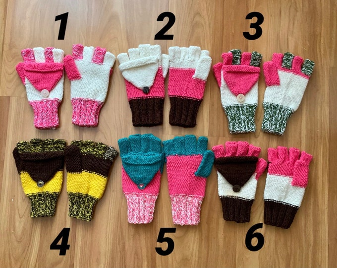 Convertible Gloves Hand Knit Fingerless Gloves for Kids Knitted Gloves Convertible Mittens Winter Color Fingerless Mitten Kids Hand Warmers