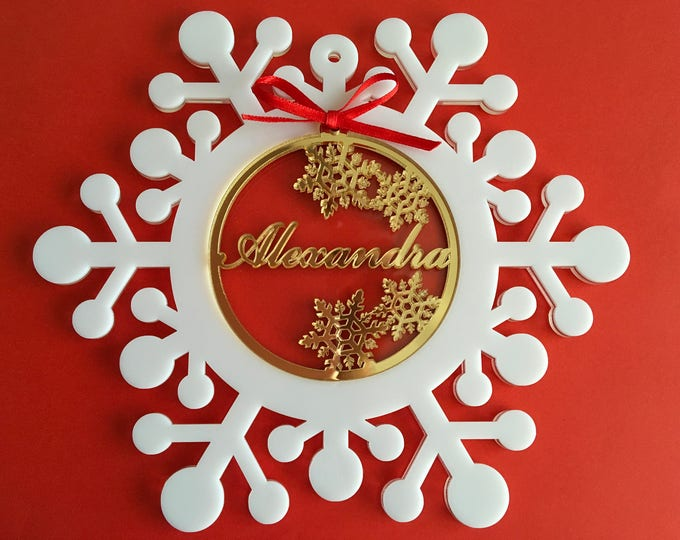 Personalized Name Baubles Christmas Gifts Handmade Ornaments Name Tree Decoration Winter Snowflakes Custom Acrylic Bauble Xmas Family Gifts