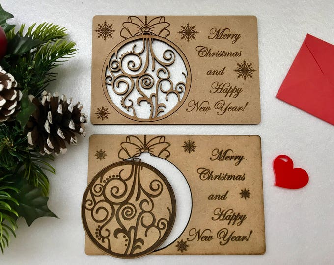 Merry Christmas cards Engraved Xmas ornaments Personalized wooden greeting card Happy New Year Personalized Gift Rustic Christmas Bauble
