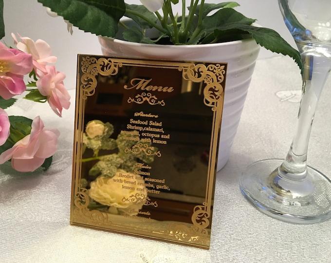 Gold wedding menu Dinner party table decor Bridal shower Food menu card Laser engraved Wedding sign Reception Custom Menu Wedding invitation
