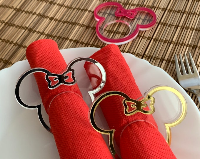 Minnie Mouse Mickey Mouse Napkin Ring Holders Napkin Rings for Kids Mickey Mouse Head Ears Mickey Theme Disney Party Birthday Decorations