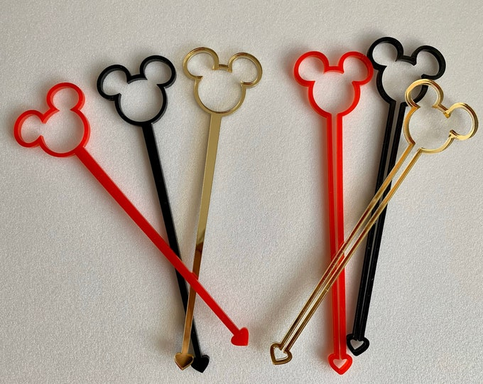 Mickey Mouse Acrylic Drink Stirrer Swizzle Stir Sticks Disney Party Decorations Birthday Table Decor Party for Kids Accessories Disneyland