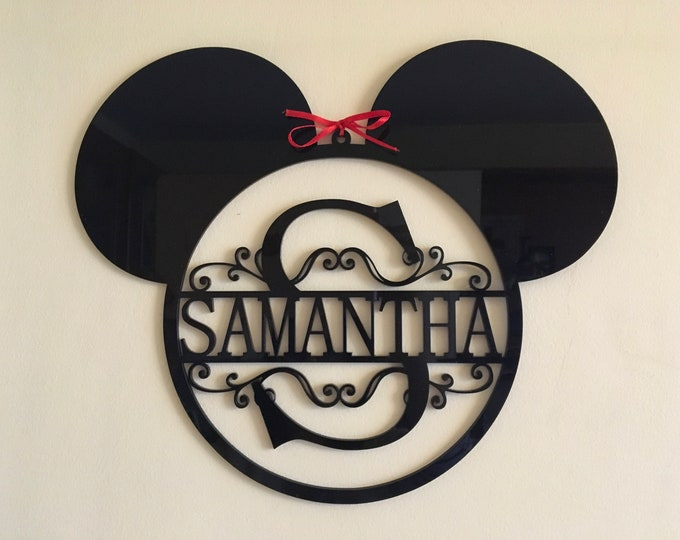 Mickey Mouse Head Monogram Personalized Name Acrylic Sign Split Letter Wall Door Hanger Custom Disney Ears Wreath Nursery Decor Kids Room