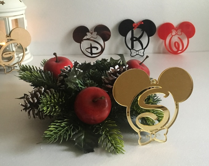 Personalized Christmas Baubles Initial Ornaments Mickey Minnie Mouse Ears Xmas Gifts for Kids Monogram Customized Disney Letters Tree Decor