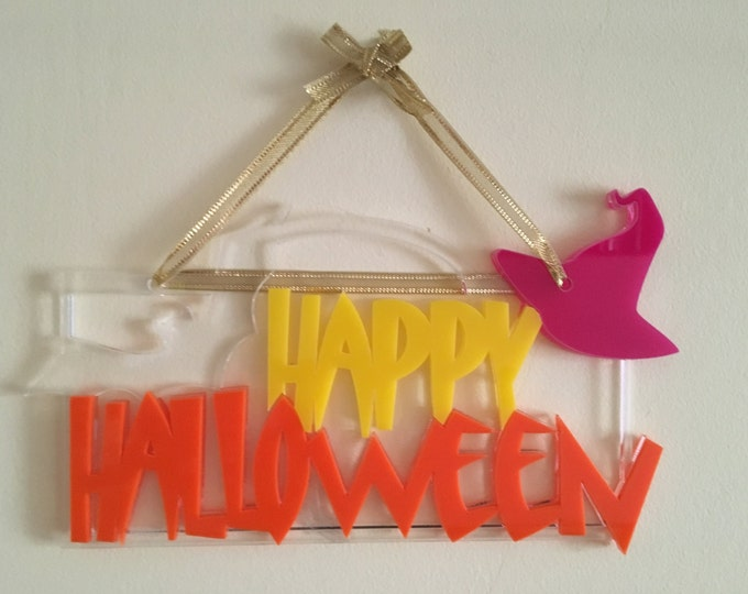 Happy Halloween door sign Spooky door sign Halloween decoration Wall hanging sign Halloween holiday sign Halloween ornament Halloween gift