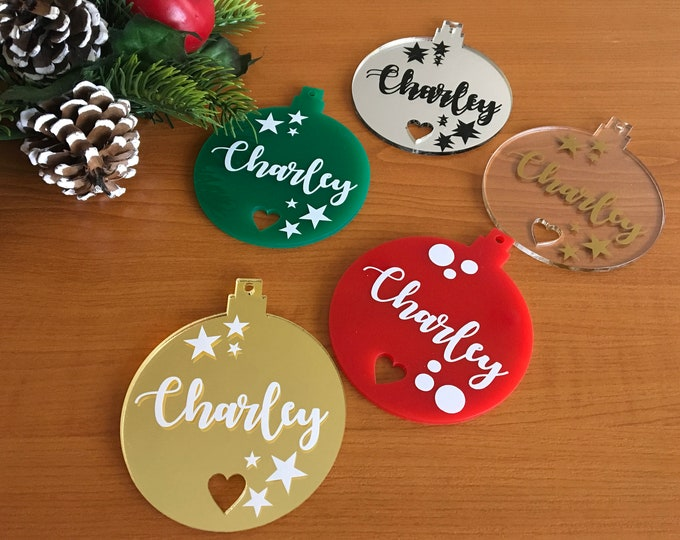 Personalized Xmas Name Ornament with Laser Cut Heart Custom Baubles Hanging Tree Decoration Christmas Decor Gift for Family Birthday Gifts