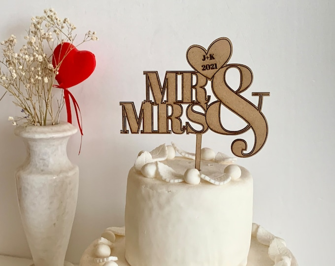 Mr & Mrs Wedding Cake Topper Personalized Wood Cake Decorations Custom Initials and Date/Year on Heart Rustic Wooden Centerpiece Anniversary